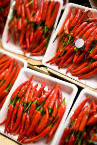 Peppers packaged in market